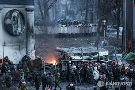 """Barricade de """"manifestants"""" ukrainiens"""