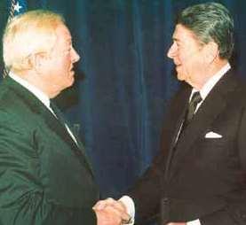 Jean-Marie Le Pen et le président des Etats-Unis Ronald Reagan