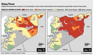 En rouge : progression du califat islamo-terroriste