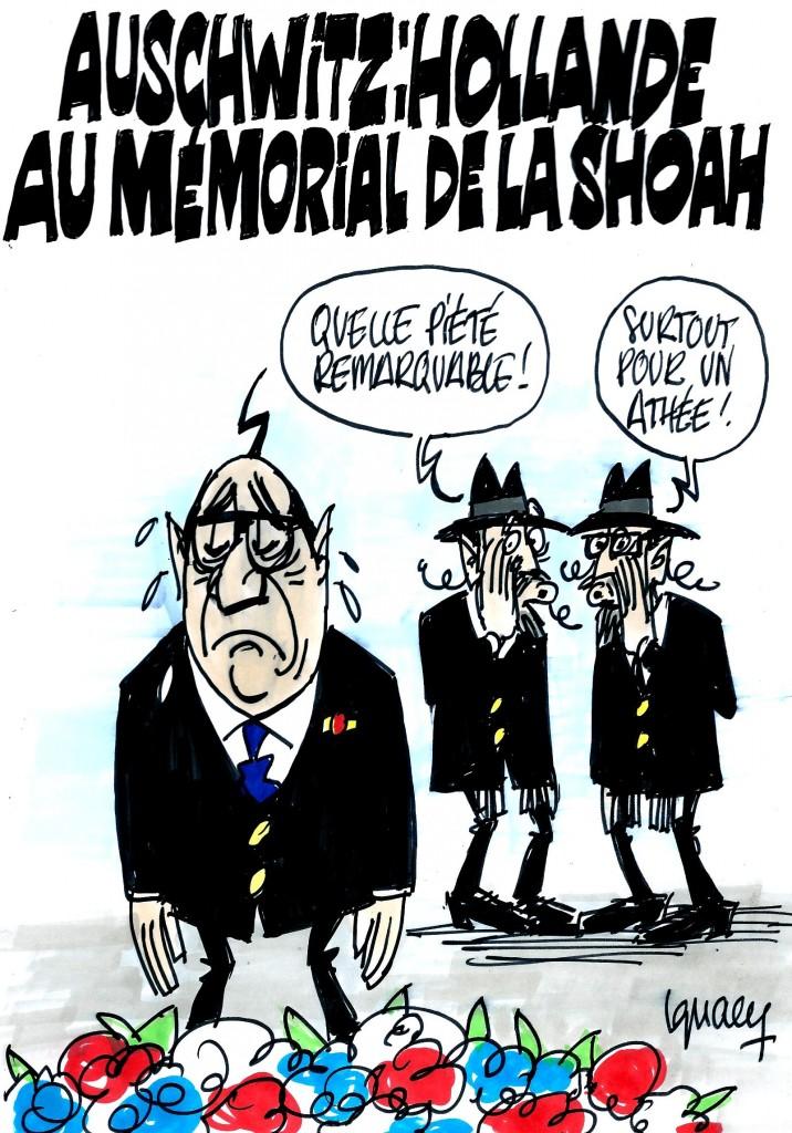 Ignace - Hollande au mémorial de la shoah
