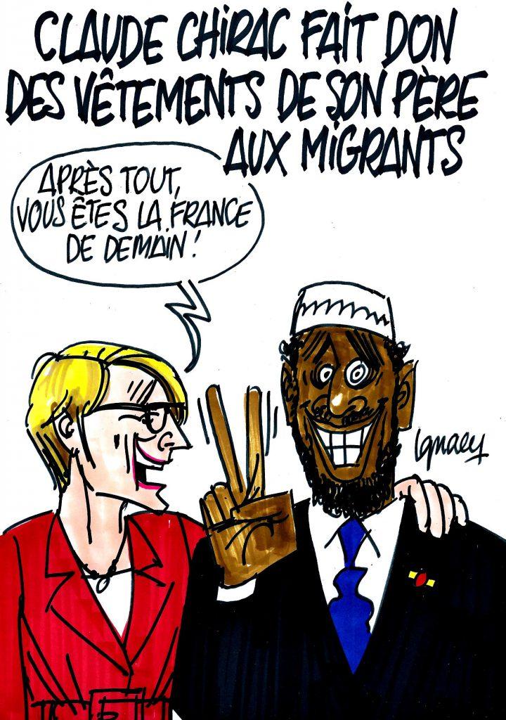 Ignace - Migrants habillés en Jacques Chirac