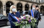 1er mai 2020, Marine Le Pen dépose une gerbe aux pieds de la statue de sainte Jeanne d'Arc
