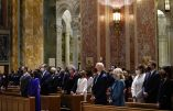 President-elect Joe Biden, center, and his wife Jill Biden attend Mass at the Cathedral of St. Matthew the Apostle during Inauguration Day ceremonies, Wednesday, Jan. 20, 2021, in Washington. (AP Photo/Evan Vucci)